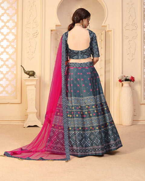 Grey Art Silk Wedding Lehenga Choli