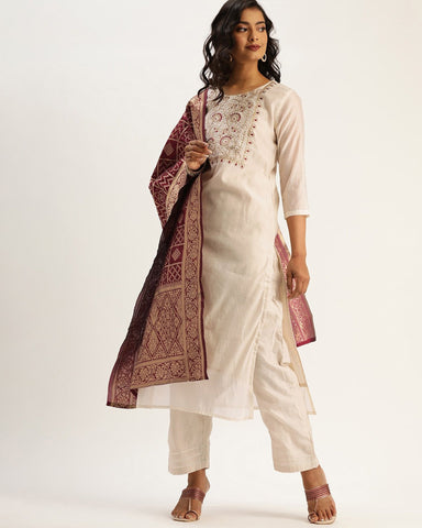 Off White Chanderi Silk Readymade Trouser Suit