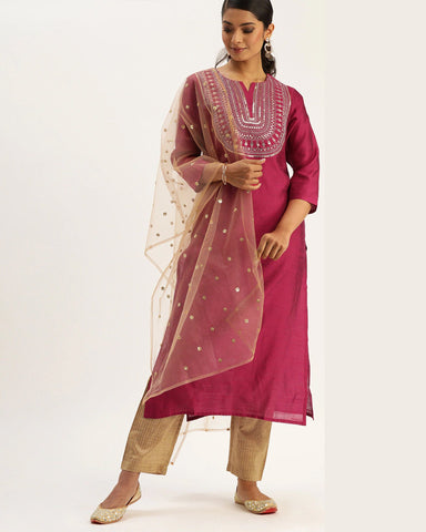 Magenta Pink Silk Blend Readymade Trouser Suit