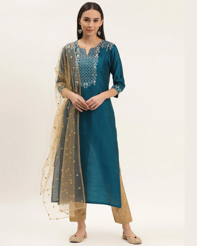 Teal Blue Silk Blend Embroidered Readymade Trouser Suit