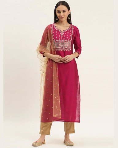 Magenta Pink Silk Blend Embroidered Readymade Trouser Suit