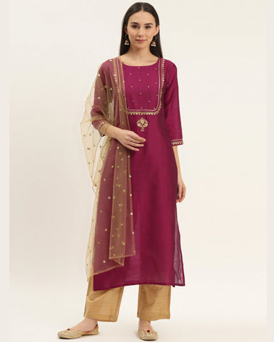 Magenta Silk Blend Readymade Trouser Suit