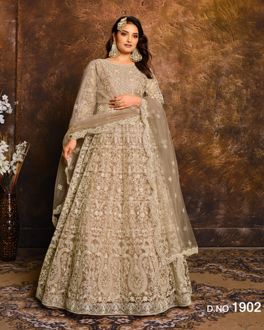 Beige Gold Net Floor Length Anarkali Suit