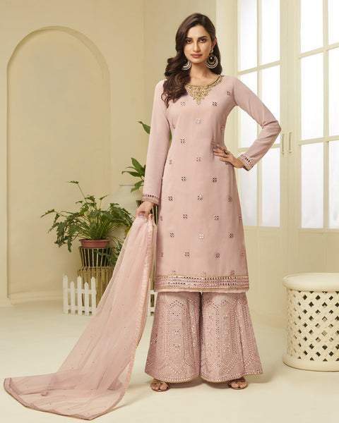 Pink Georgette Gota Patti Work Sharara Suit