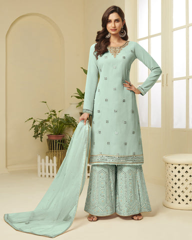 Aqua Blue Georgette Gota Patti Work Sharara Suit