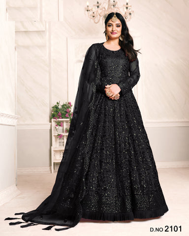 Black Embroidered Net Floor Length Anarkali Suit