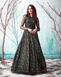 Black Net Anarkali Gown
