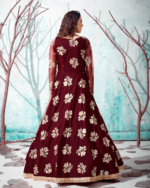 Maroon Net Anarkali Gown
