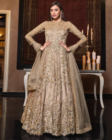 Beige Net Wedding Anarkali Suit