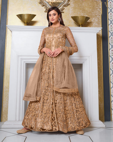 Beige Gold Net Wedding Anarkali Suit