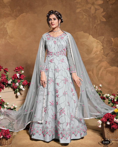 Butterfly Net Light Grey Floor Length Anarkali Suit
