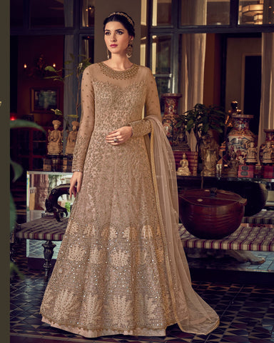 Beige Gold Butterfly Net Wedding Anarkali Suit