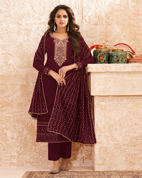 Wine Georgette Palazzo Suit