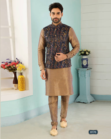 Beige & Blue Jacquard Banarasi Silk Men's Ethnic Jacket Suit