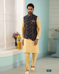 Gold & Blue Jacquard Banarasi Silk Men's Ethnic Jacket Suit