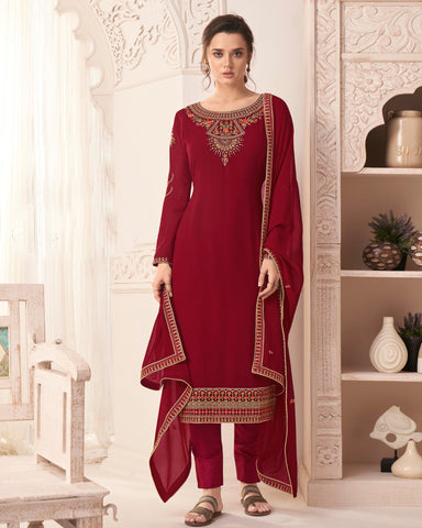 Georgette Maroon Embroidered Churidar Suit