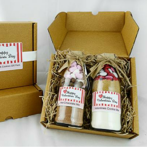 VALENTINE'S Day GIFT PACK - Sweet | Love | Perfect. Makes 6 delicious cookies & 2 mugs decadent hot chocolate