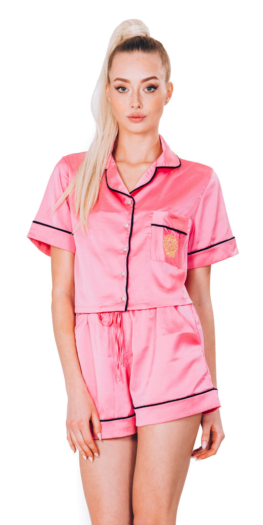 PINK SATIN PAJAMA - SHORT