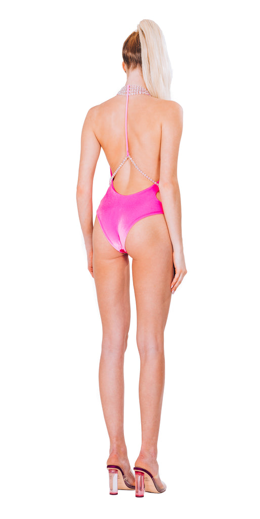 MAGENTA VELVET COLLIER SWIMSUIT