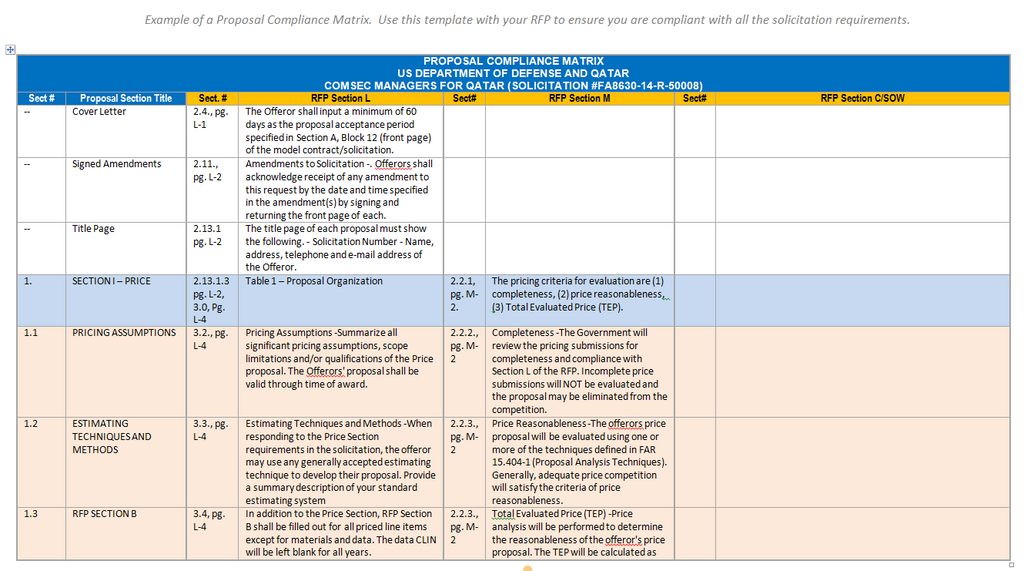 A Free Proposal Compliance Matrix Example The Federal