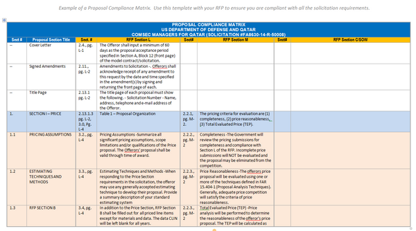 a free proposal compliance matrix example  u2013 the federal