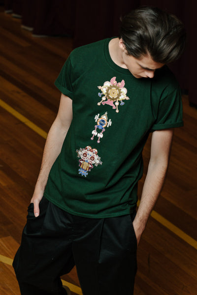 Three Way Moss Green Embroidered T-Shirt