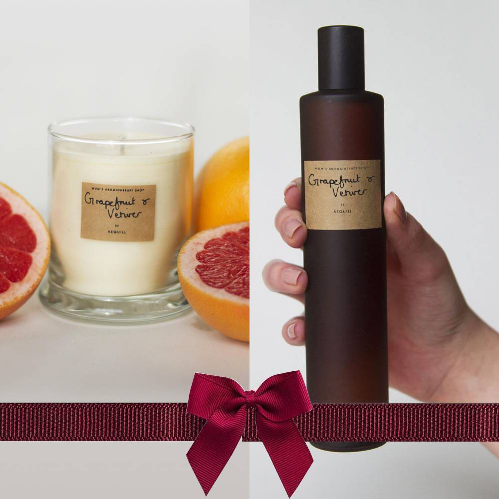 Grapefruit & Vetiver Room Perfume Spray And Candle Gift Set