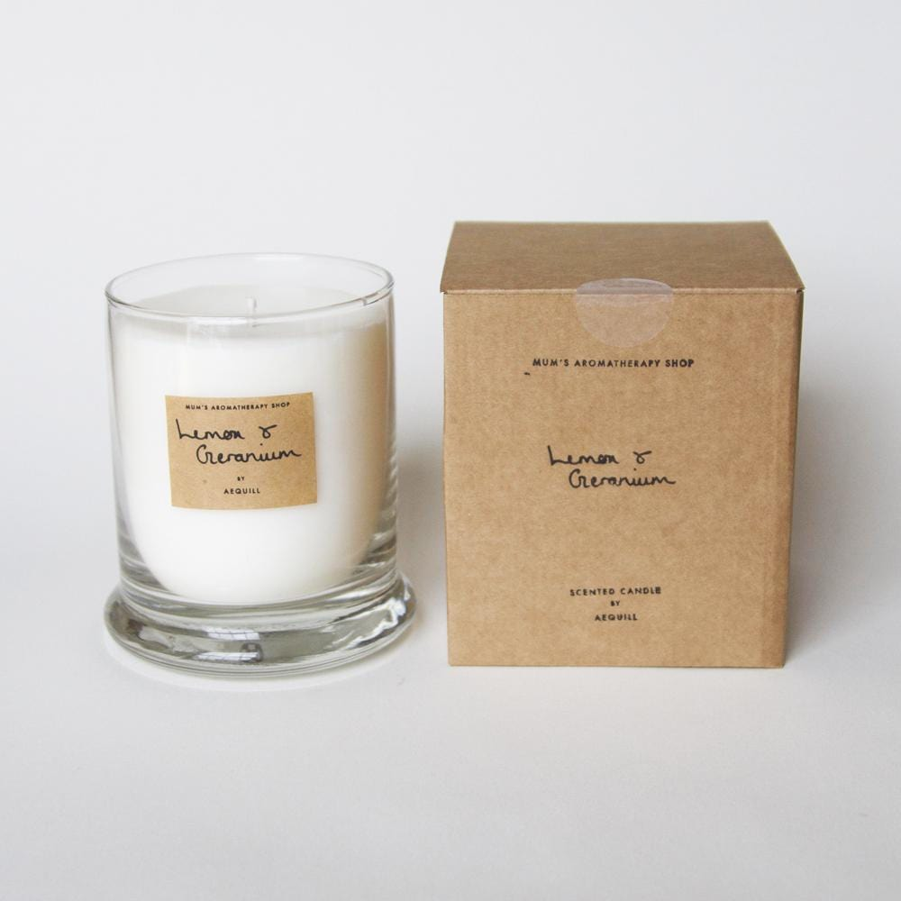Candle With Lemon, Geranium, Lavender and Rosemary Essential Oil