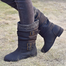 Load image into Gallery viewer, Winter Women Buckle Strap PU Leather Mid-Calf Casual Boots