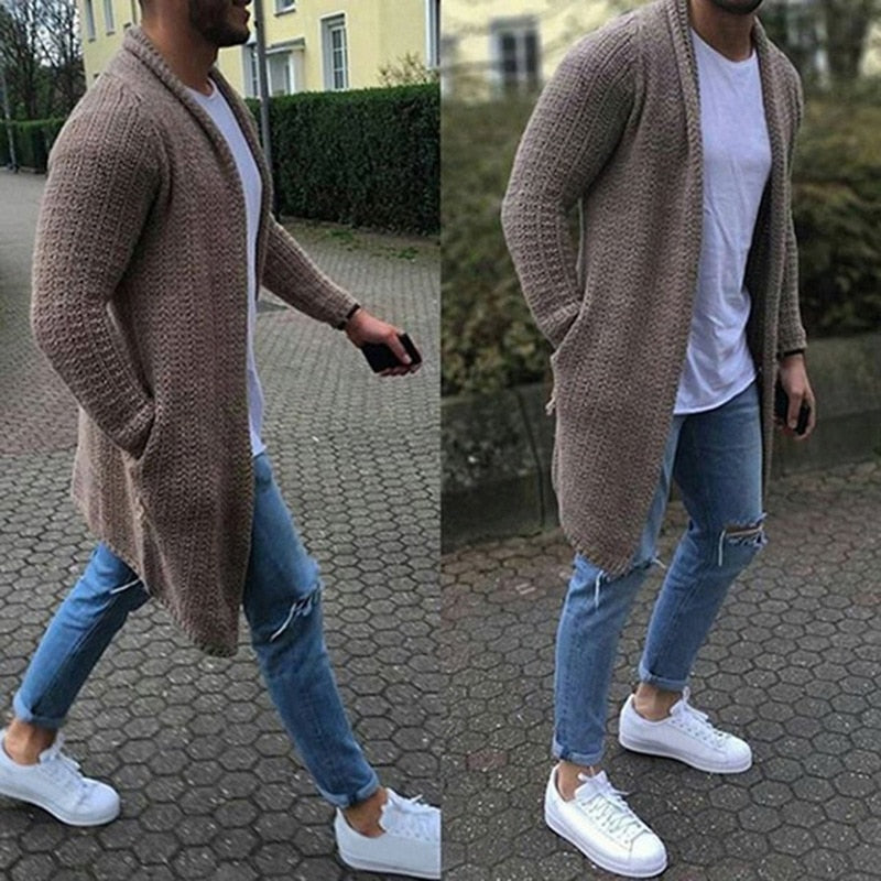 Mens Long Wool Cardigan- Warm, Roomy Pocket Fashion Knitted Sweaters