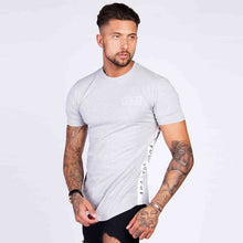 Load image into Gallery viewer, Men's Cotton Short-Sleeve Patchwork Slim Fit Fitness T-shirt