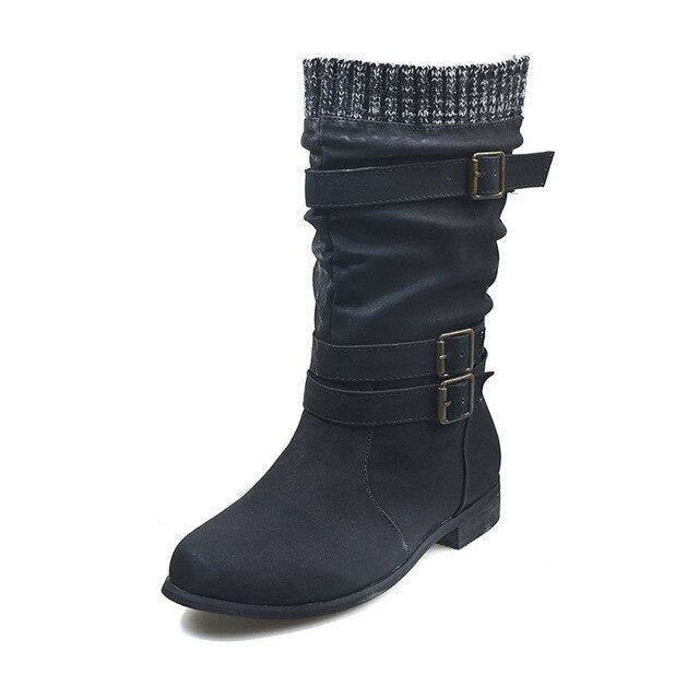 Winter Women Buckle Strap PU Leather Mid-Calf Casual Boots