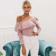 Load image into Gallery viewer, Women's Sexy slim long sleeve One shoulder ruffles blouse