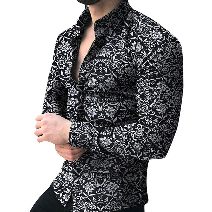 Men's Floral Long Sleeve Casual Shirt