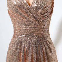 Load image into Gallery viewer, Long Rose Gold Sequin Bridesmaid Dress