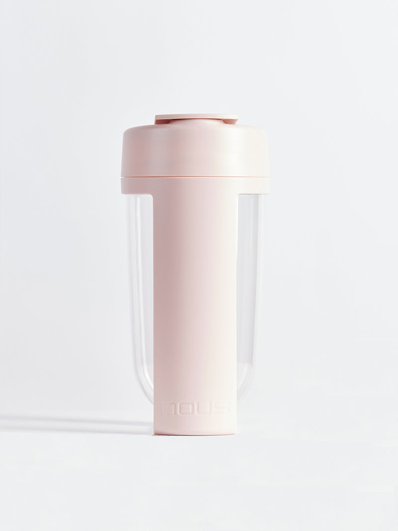 fitness bottle and supplement shaker by mous in blush color
