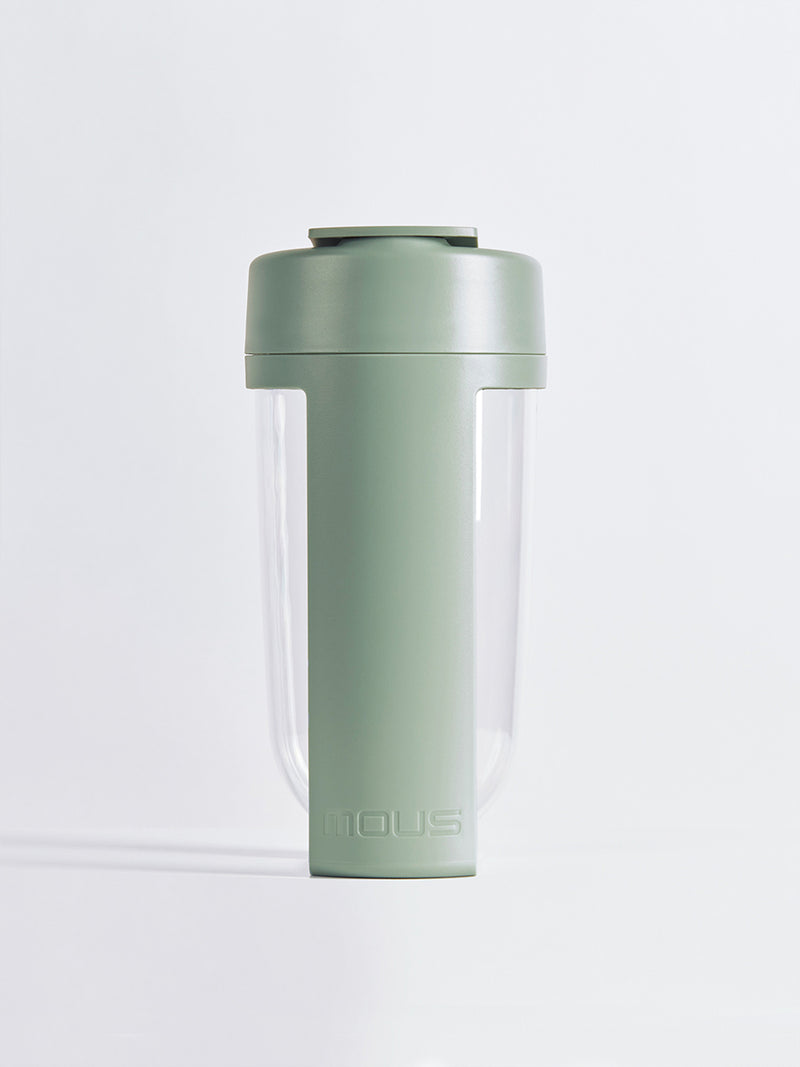 fitness bottle and supplement shaker by mous in moss color