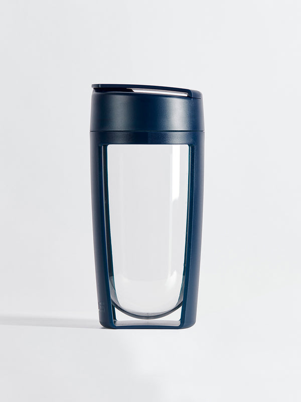 fitness bottle and supplement shaker by mous in navy color