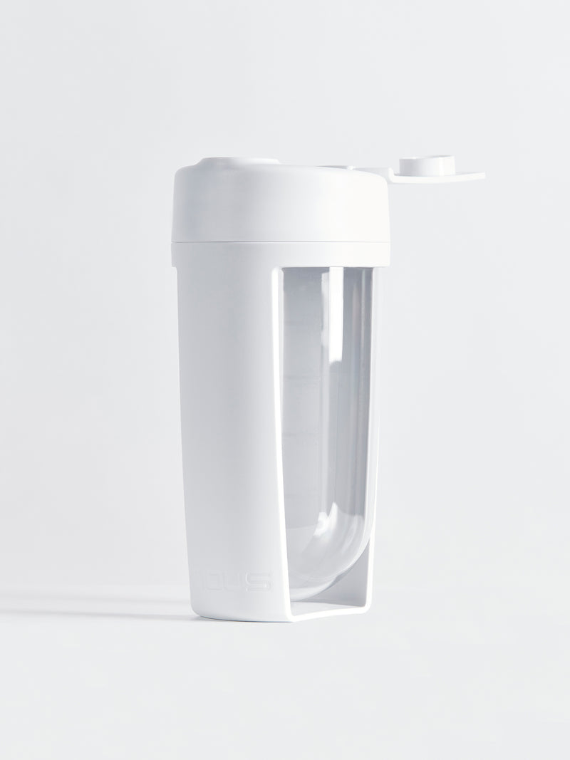 white supplement shaker bottle