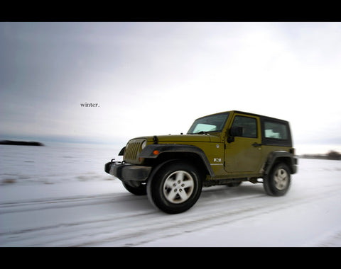 Jeep on icy gritted road