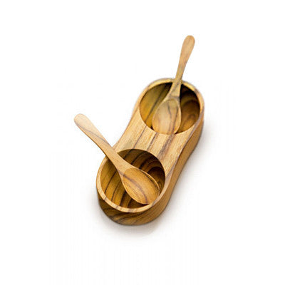 Double teak spice server with spoons