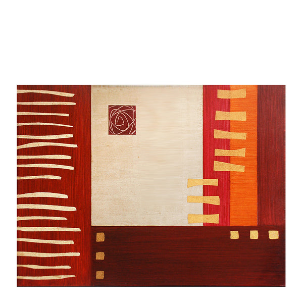 Hand-painted wood placemats, Strips-Rust