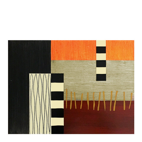Hand-painted wood placemats, Ladders-orange