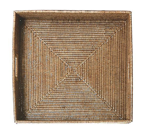 Woven rattan large ottoman serving tray