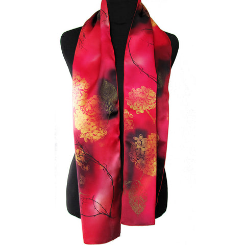Hand-painted hydrangea silk scarf, red/gold