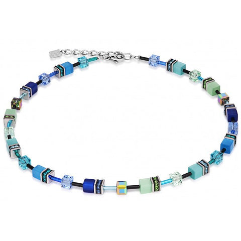 Coeur de Lion Cat Eye blue-green cubes and crystals necklace