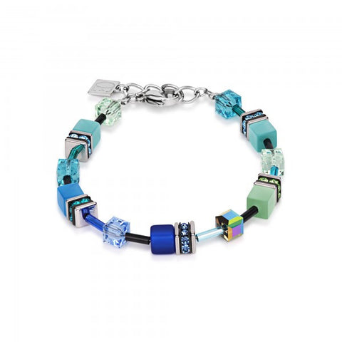 Coeur de Lion Cat Eye blue-green cubes and crystals bracelet