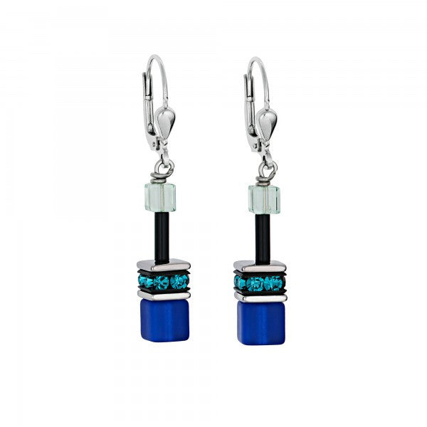 Coeur de Lion Cat Eye blue-green cubes and crystals earrings