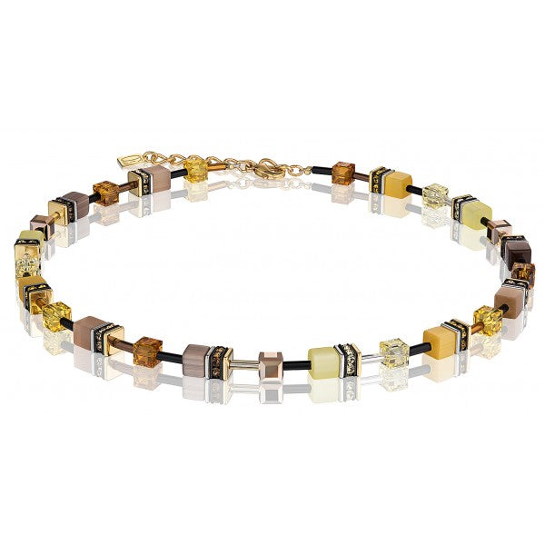 Coeur de Lion Cat Eye earth tone cubes and crystals necklace