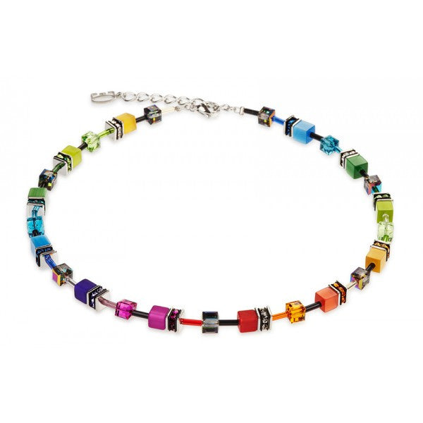 Coeur de Lion Cat Eye multicolor cubes and crystals necklace